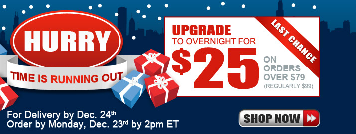 Overnight: For delivery by December 24th, order by Monday, December 23rd by 2PM ET