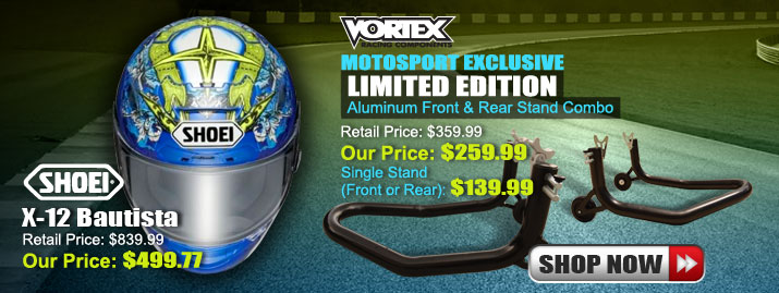 Shop Shoei X-12 Bautista Helmet and Vortex Limited Edition Stand
