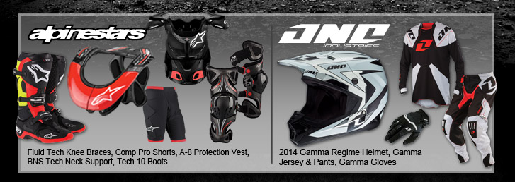 Alpinestars Fluid Tech Knee Braces, Comp Pro Shorts, A-8 Protection Vest,  BNS Tech Neck Support, Tech 10 Boots. One Industries 2014 Gamma Regime Helmet, Gamma Jersey & Pants, Gamma Gloves
