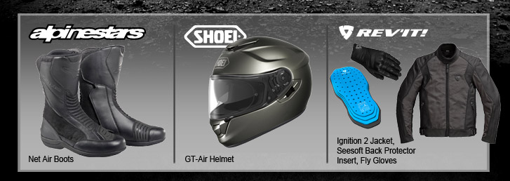 Alpinestars Net Air Boots, Shoei GT-Air Helmet, REV'IT! Ignition 2 Jacket, Seesoft Back Protector Insert, Fly Gloves