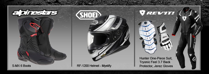 Alpinestars S-MX 6 Boots, Shoei RF-1200 Helmet - Mystify, REV'IT! Hunter One-Piece Suit, Tryonic Feel 3.7 Back Protector, Jerez Gloves